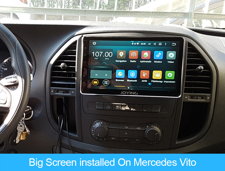 10 Inch Android car radio installed on Mercedes-Benz Vito