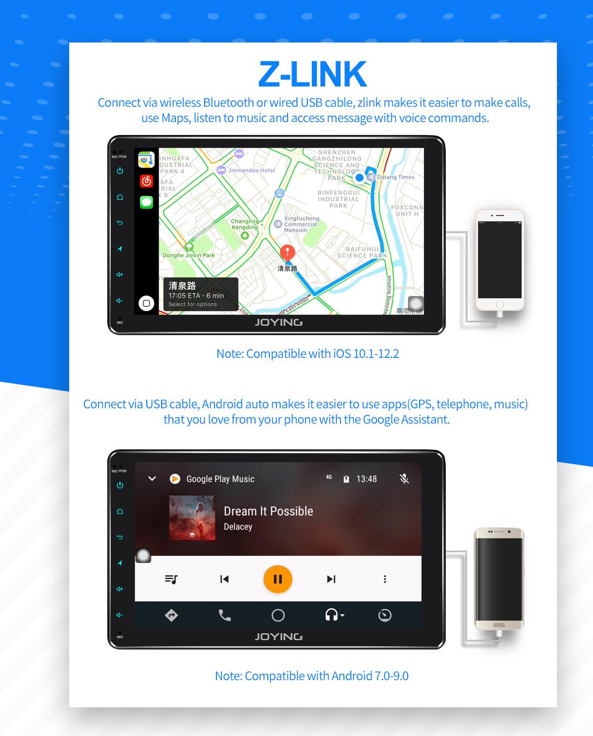 JOYING Germany Warehouse 9 Inch Single Din Android Auto Carplay Radio  System 4GB+64GB
