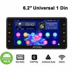 "Joying 6.2"" Single Din Car Radio with Powerful Android 10.0 System Bluetooth 5.1"